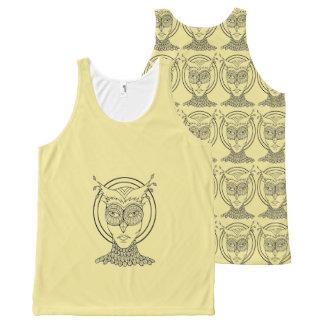Masquerade Owl Black Line Art Design All-Over Print Tank Top