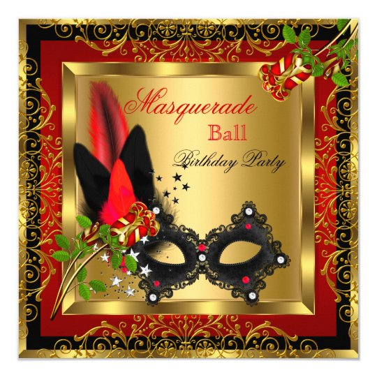 Masquerade Party Ball Gold Red Black Mask Rose