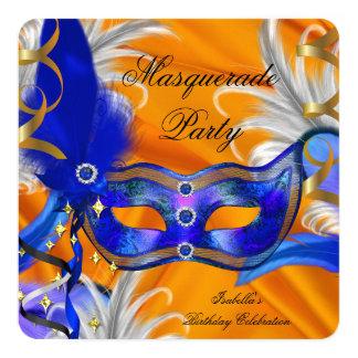 Masquerade Party Birthday Party Blue Orange 13 Cm X 13 Cm Square Invitation Card