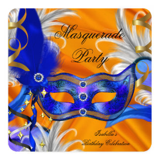 Masquerade Party Birthday Party Blue Orange 13 Cm X 13 Cm Square Invitation Card