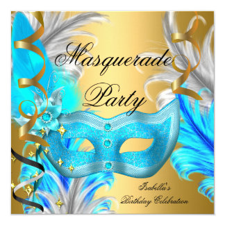 Masquerade Party Birthday Party Teal Blue Gold 13 Cm X 13 Cm Square Invitation Card