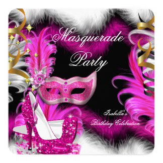 Masquerade Party Birthday Pink Black White 2 Card