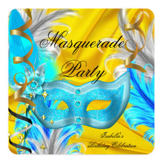 Masquerade Party Birthday Yellow Teal Blue Gold 13 Cm X 13 Cm Square Invitation Card