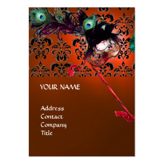 MASQUERADE PARTY black and white damask Business Card Template
