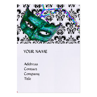 MASQUERADE PARTY black and white damask linen Business Card Templates