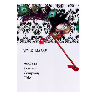 MASQUERADE PARTY black and white damask pearl Business Card Template