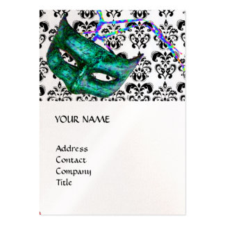 MASQUERADE PARTY black and white damask pearl Business Card Templates