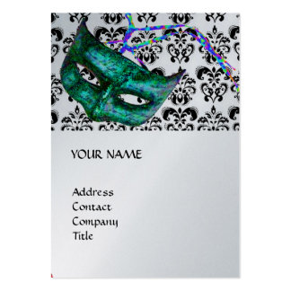 MASQUERADE PARTY black and white damask platinum Business Card Template