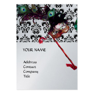 MASQUERADE PARTY black and white damask platinum Business Cards