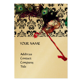 MASQUERADE PARTY black purple blue damask gold Business Card