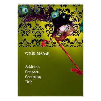 MASQUERADE PARTY black white damask linen yellow Business Card Template