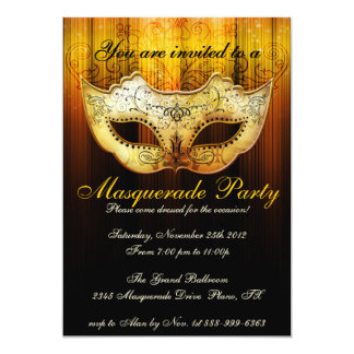 Masquerade Party Celebration Fancy Gold Invitation