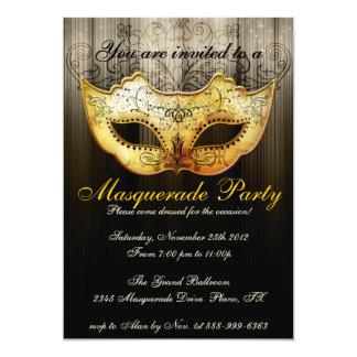 """Masquerade Party Celebration Fancy Gold Invitation 5"""" X 7"""" Invitation Card"""