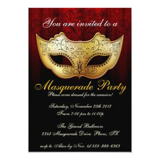 """Masquerade Party Celebration Fancy Invitation 5"""" X 7"""" Invitation Card"""