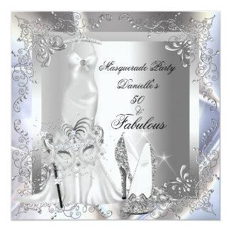Masquerade Party Fabulous 50 Birthday Silver 13 Cm X 13 Cm Square Invitation Card