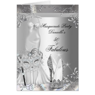 Masquerade Party Fabulous 50 Birthday Silver Greeting Card