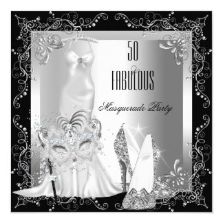 Masquerade Party Fabulous 50 Birthday Silver Card