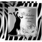 Masquerade Party Fabulous 50 Zebra Silver Card