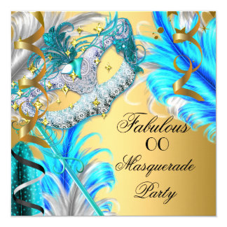 Masquerade Party Fabulous Birthday Teal Blue 2 5.25x5.25 Square Paper Invitation Card