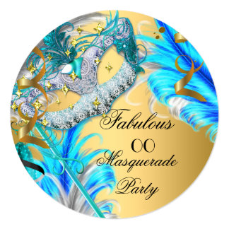 """Masquerade Party Fabulous Birthday Teal Blue 2 5.25"""" Square Invitation Card"""