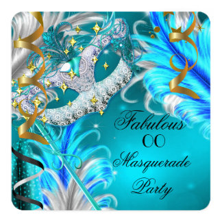 """Masquerade Party Fabulous Birthday Teal Blue 5.25"""" Square Invitation Card"""