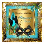 Masquerade Party Gold Teal Black Mask Rose 13 Cm X 13 Cm Square Invitation Card