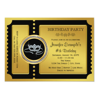 Masquerade Party Golden Ticket Birthday Party Card