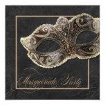 Masquerade Party Invitation - Bronze, gold & black 13cm X 13cm Square Invitation Card