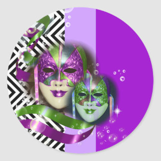 Masquerade party mardi gras mask classic round sticker