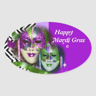 Masquerade party mardi gras mask oval sticker