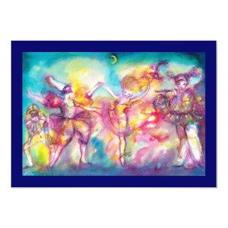 MASQUERADE PARTY,Mardi Gras Masks,Dance,Music 13 Cm X 18 Cm Invitation Card