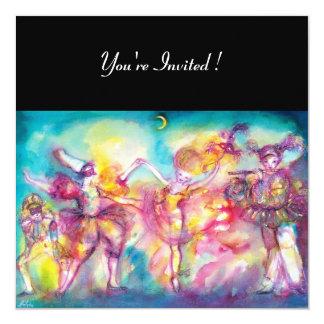 MASQUERADE PARTY,Mardi Gras Masks,Dance,Music 13 Cm X 13 Cm Square Invitation Card