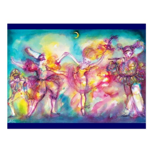 MASQUERADE PARTY,Mardi Gras Masks,Dance,Music Post Cards