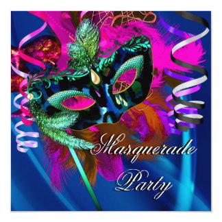 Masquerade Party Mask Black Blue Pink Mardi Gras Custom Invites