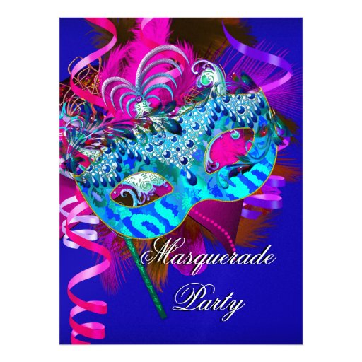 Masquerade Party Mask Blue Teal Pink Metallic Personalized Invite