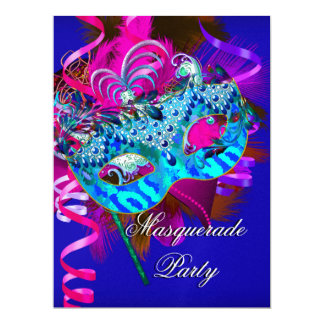 Masquerade Party Mask Blue Teal Pink Metallic 17 Cm X 22 Cm Invitation Card