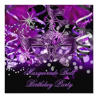Masquerade Party Mask Spider Purple Gothic 13 Cm X 13 Cm Square Invitation Card