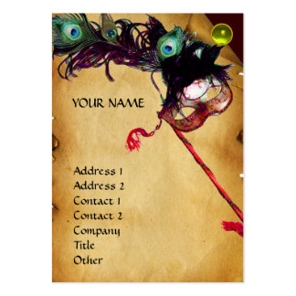 MASQUERADE PARTY parchment damask gem pearl Business Card