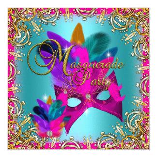 "Masquerade Party Pink Blue Gold Purple 5.25"" Square Invitation Card"