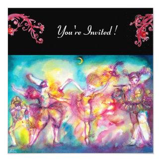 MASQUERADE PARTY,red flourishes 13 Cm X 13 Cm Square Invitation Card