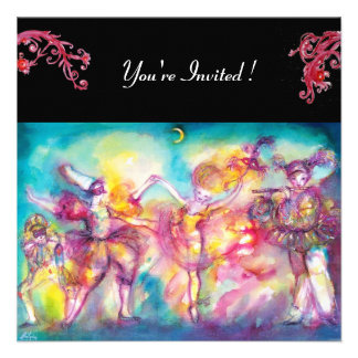 MASQUERADE PARTY red flourishes Personalized Announcement