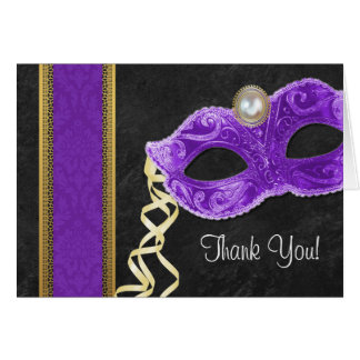 Masquerade Party Thank You Cards - purple