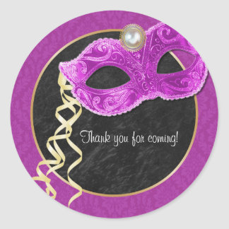 Masquerade Party Thank You Sticker - hot pink