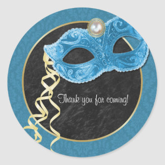 Masquerade Party Thank You Sticker - teal