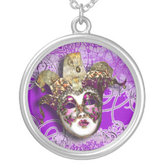 Masquerade party Venetian masked ball Silver Plated Necklace