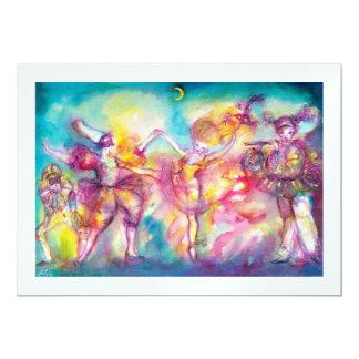 MASQUERADE PARTY, white ice metallic 13 Cm X 18 Cm Invitation Card