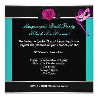 Masquerade Prom High School Dance Blue Pink 5.25x5.25 Square Paper Invitation Card