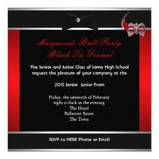 Masquerade Prom High School Dance Red Black 5.25x5.25 Square Paper Invitation Card