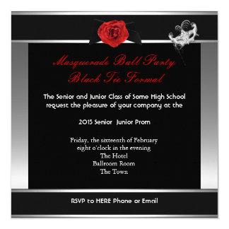 Masquerade Prom High School Dance Silver Red 5.25x5.25 Square Paper Invitation Card
