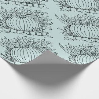Masquerade Pumpkin Scene Line Art Design Wrapping Paper